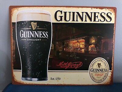 (L@@K) Guinness Beer Pint Glass Back Bar Tin Sign Game Room Man Cave Ireland