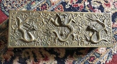 Antique Chinese Bronze Box Casket Wood Interior High Relief Dragon Flaming Pearl