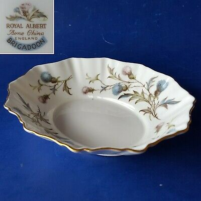 "Royal Albert Bone China England 'Brigadoon' 6"" Oval Sweet Meat Dish. Thistles"