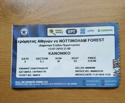 Ticket : 2019/20 13/7/2019 Pre Season Friendly .. Atromitos v Nottingham Forest