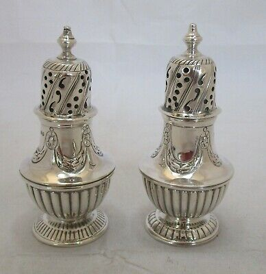 Good pair Antique Victorian Sterling silver peppers, 1889, 148 grams