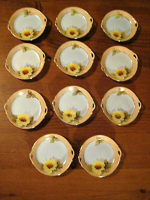 11 Antique Gilded  Butter Pats Japanese  Noritake C 1918-1924 Hand Painted