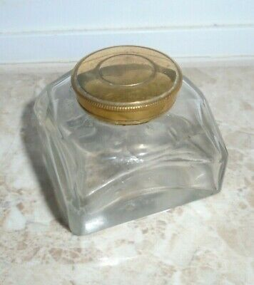 Antique Brass Lidded Inkwell From A Writing Slope