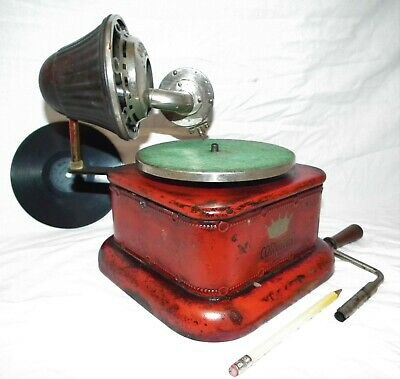 Rare Vintage Coronet Small Portable 78 Rpm Phonograph Gramophone Record Player