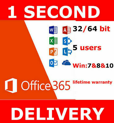 INSTANT Microsoft Office 365 2016 2019 Pro Key PC/Mac 5TB User Lifetime ESD🎊🎁