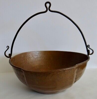 Hand Wrought Hammered Copper Handled Pour Sm Bowl Art's & Craft's Mission Period