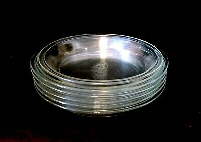 6 Vintage Pyrex Clear Baking Pie Pans Plates 10 Inch #210 (5) 9 Inch #209 (1)