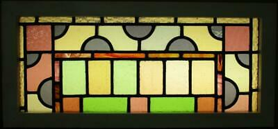 "OLD ENGLISH LEADED STAINED GLASS WINDOW TRANSOM Stunning Victorian 32.75"" x 15"""