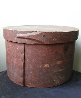 LARGE Antique 19th Century Original dry RED PAINT Bentwood Wood Pantry BOX AAFA