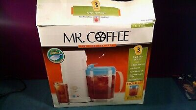 New Mr. Coffee Tm3P 3-Qt Iced Tea Pot Maker Blue Lid Pitcher & Extra Pitcher