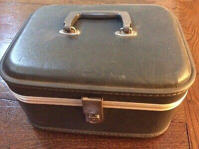 Vintage Small Vacationer Suitcase Makeup/Cosmetic Case Hard