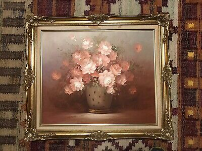 Robert Cox Small Signed Oil Painting of Vase of Flowers Roses In Gold Frame