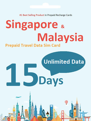 $1.6/day Singapore & Malaysia Travel SIM card 4G unlimited download - 15 days