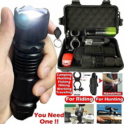 Tactical Military Zoomable 90000LM T6 LED Flashlight Torch Head Light Bike Lamp