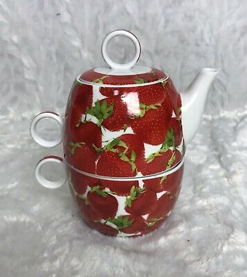 NK Fine Porceiain Strawberry Design Tea for One with Cup Lid Teapot