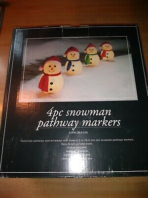Trim-a-Home Snowman Pathway Markers Holiday-Decoration-Outdoor Christmas Lights