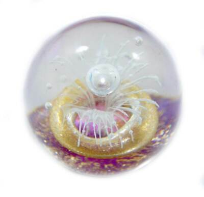 Vintage pretty purple, gold & white controlled bubble firework glass paperweight