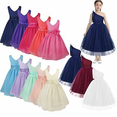 Flower Girl Dress Child Wedding Bridesmaid Party Chiffon Dress Pageant Prom Gown