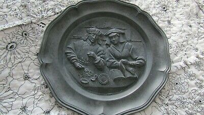 "Vintage 9"" Pewter Plate Depicting a Scene with PZ mark on the reverse of plate"