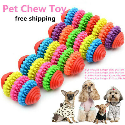 Lovely Pet Dog Puppy Cat Chews Toy Rubber Bone Squeaker Squeaky Dental Play Toys