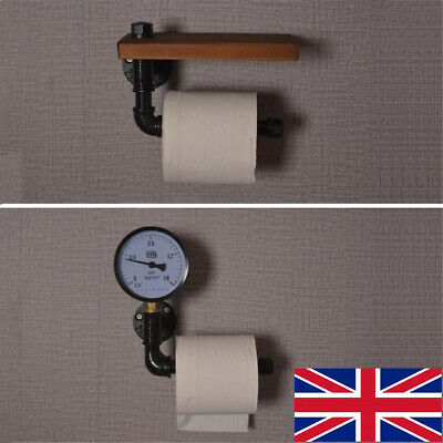 Industrial Wall Mounted Rustic Pipe Metal Iron Toilet Paper Roll Holder Bathroom