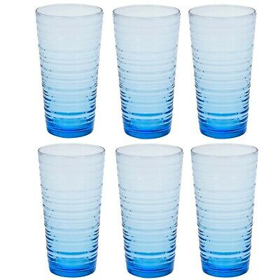 6 12 Pasabache Blue Tall Drinking Cups Ringed Tumblers Hi Ball Cocktail Glasses