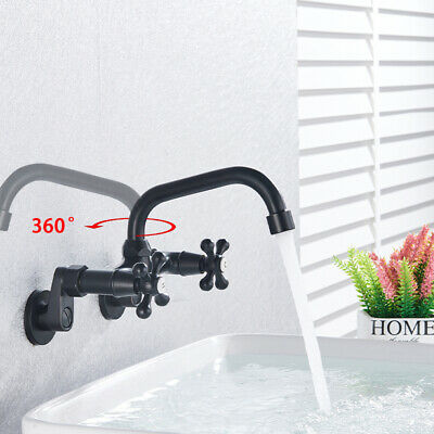 Wall Mounted Brushed Nickel Kitchen Faucet 360Swivel Long Spout Mixer Tap 2Holes
