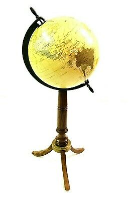 Decorative Vintage Nautical World Globe Map Ornament with Wooden Tripod Stand