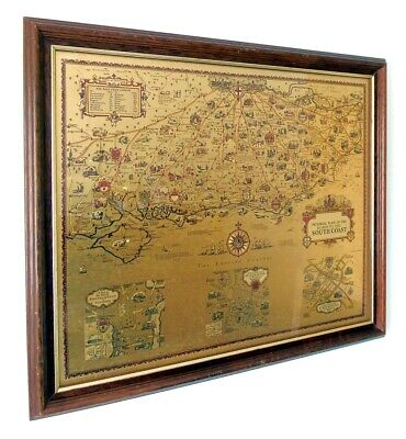 Gold Foil Map - Pictorial Plan Of The Roads To The South Coast - A.e. Taylor