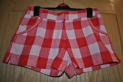 Girls Monsoon Red Check Cotton Shorts - Age 11/12 Years with Adjustable Waist