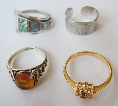 Lot of 3 Vintage Solid Silver Rings: Celtic, Amber & Paua Shell + 1 Costume Ring