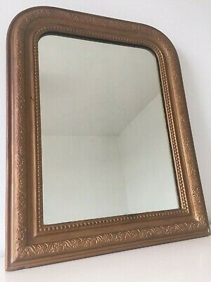 Antique French Louis Philippe Gold Overmantle Mirror Original Glass 61x49cm m267