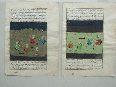 Pair Of Old Vintage Antique Indian Miniature Paintings Hindu Asian Very Rare