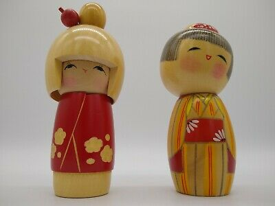 Japanese hand made decorated KOKESHI dolls One is Stamped / Signed PAIR FREEPOST