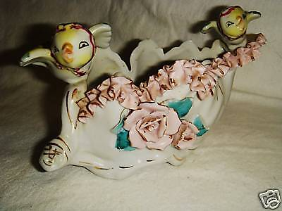UNIQUE & FUN Porcelain YELLOW BIRDS in BANDANAS w/Roses & Ribbons PLANTER