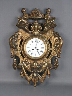 Antique Wall Clock in a Frame Gold Bronze France 1800