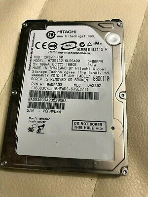 "Hitachi 5K320-160 HTS543216L9SA00 160GB 5400RPM SATA 0A57253 2.5/"" Slim Laptop HD"