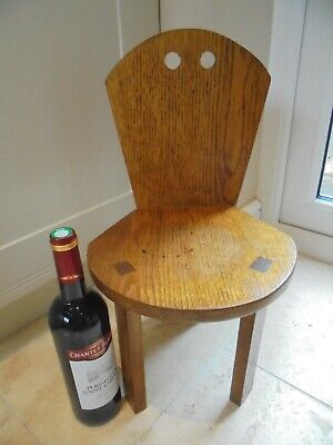 Vintage solid oak art deco childs small chair, 1930s, angular design