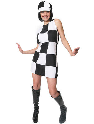 White And Black 60S 70S Party Girl Fancy Dress Costume Ladies Shift Dress & Hat