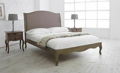 French Style Solid Wood Natural Fabric Bed Frame Double King Superking
