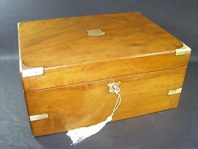 Antique Brass Corners & Banded Document Box  Working Lock & Key c1870