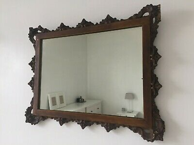 Original Antique Distressed Moulded Wall Mirror Wood & Gesso 45x35cm m272