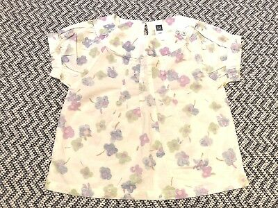Baby Gap Top Shirt watercolor flower white purple Print Size 6 - 12 mos NWOT