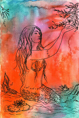 """Original Watercolor with India Ink 9 x 6"""" Original Painting Mermaid Not ACEO"""