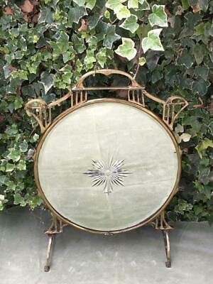 Antique Brass French Glass Fire Screen Guard Ornate Brass Mirror Bevelled Etched