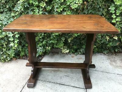Antique Arts and Crafts Oak Jointed Trestle Table Two Plank Country Table