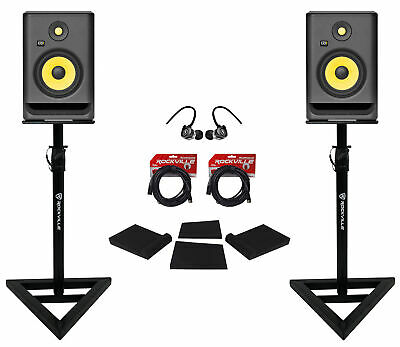 "(2) KRK RP7-G4 Rokit Powered 7"" Studio Monitors+Stands+Pads+Cables+Earbuds"