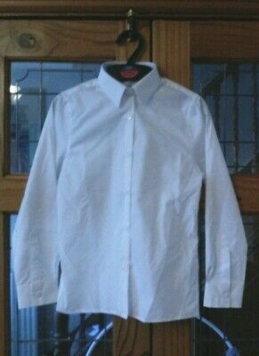Bn Marks and Spencer's girls long sleeve slim fit easy iron white blouse 8-9 x5