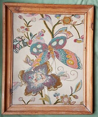 Large early 20th c Art Nouveau / Arts and Crafts Crewelwork panel of Butterfly