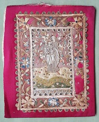 Interesting 17th century card and silk embroidered Panel Virgin Mary Icon